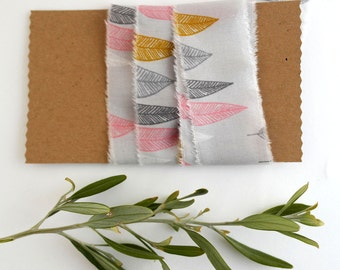 Organic Cotton Craft Ribbon - Raw Edge Cotton Tape - Leaf Pattern
