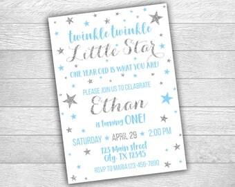 Twinkle Twinkle Little Star Invitation, Digital Printable Invitation, Blue and Silver, First Birthday Invitation, 1st birthday Boy 065