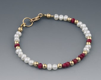 Slim White Pearl Bracelet with Genuine Red Ruby Gemstones and 14K Gold Filled Beads and Clasp , Handmade