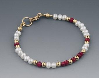 Ruby and Pearl Bracelet, Slim Bracelet, Real Pearls, Genuine Red Ruby Gemstones, 14K Gold Filled, Fine Jewelry, Romantic Jewelry