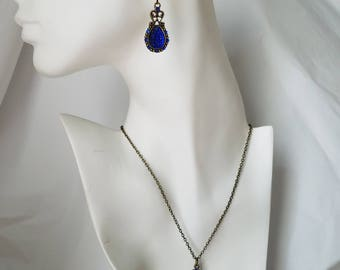 Victorian Antique Bronze & Royal Blue Sapphire Crystal Teardrop Earrings Necklace Set Hypoallergenic Regal Fancy Formal