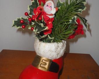 Vintage Large Ceramic Red Black White Santa Boot, Santa Claus's Boot, Santa's Boot, Christmas Decorations, Holiday Decoration, Boot, Santa
