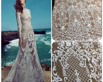 Bridal Lace, Ivory Lace, Embroidered Tulle, Ivory Embroidery, Lace Fabric, Lace Material, Ivory Material, Ivory Lace