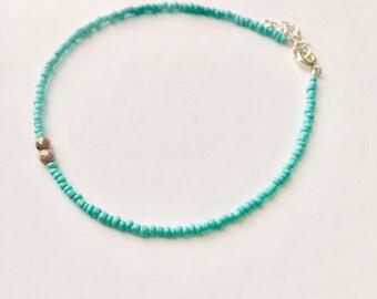 Anklet, turquoise, aqua, blue anklet, gold, summer, boho, beaded anklet, ankle bracelet