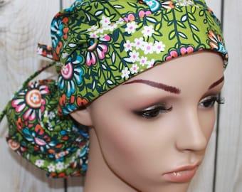 Global Bazaar II,Surgical Scrub Hat ,Scrub Cap,OR Nurses Cap,Vet,Vet Tech,Front Fold  Ponytail