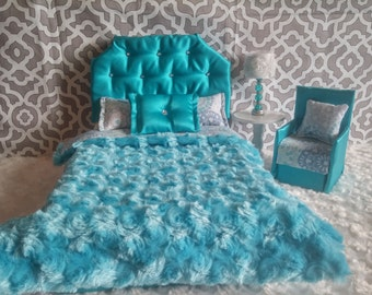 Doll Furniture for Barbie, Blythe, Monster High - Glamorous Teal Bejeweled Bed & Accent Chair