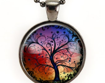 Tree Necklace, Colorful Tree Of Life Jewelry, Art Pendant, Gift Ideas (0630G25MMBC)