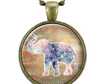 Bohemian Style Elephant Necklace, Mandala Design, Elephant With Trunk Up Luck Jewelry (2177B25MMBC)