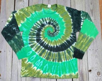 Adult St Patrick's Day Tie Dye Shirt, S M L XL XXL, Green Tie Dye Long Sleeve Tshirt,  Mens Tie Dye, Womens Tie Dye