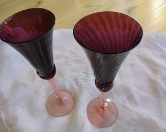 Exquisite Amethyst Peach Fluted Stemware Excellent, Set of 2 Rare Amethyst Crystal Stemware Purple Peach champagne