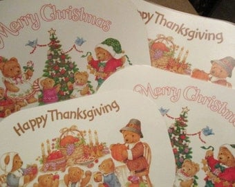 Current Reversible Laminated Placemats Happy thanksgiving Merry Christmas. Very good laminated  China Galore decor