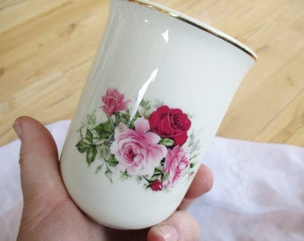 Baum Brothers Victorian Rose Gold Gilded Bathroom Glass or Vase, Victorian Decor Red Pink rose  China Galore
