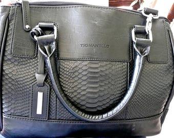 Vintage Purse - Black Leather - Tignanello - Handbag - Large Woman's Tote - Leather Purse - Mock Crock Texture - Bucket Handels -