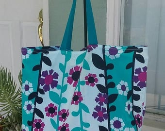 Flower Vines Reusable Tote Bag - Reusable Grocery Bag - Market Bag Tote - Large Tote Bag - Canvas beach bag - strong storage bag