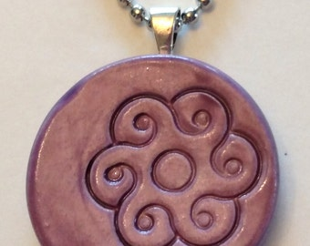FLOWER DESIGN Pendant / Necklace - Amethyst Art Glaze - Inspirational Art Piece