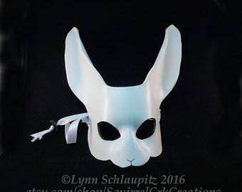 White Leather Rabbit Mask, Mardi gras, Leather mask,  Bunny,  Halloween, LARP , Cosplay, Fantasy, Rabbit costume. DIY, White Rabbit