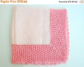 SALE Vintage Pink White hankie- Winter wedding-  Linen hankie-  Stocking stuffer- 1950s- Crocheted edge- Gift under 15