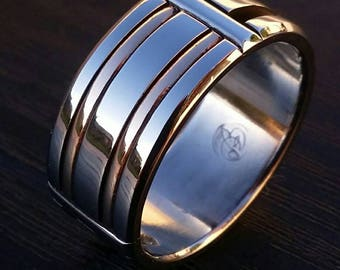 """26 """"TUN"""" Bronze & Stainless handmade ring  (not casted)"""