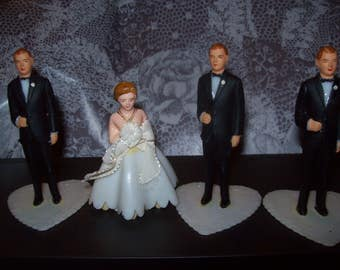 Vintage Wedding Cake Toppers Bride and Groom / Grooms/ Cake Decorations/ Wedding Cake/ Bridal Shower