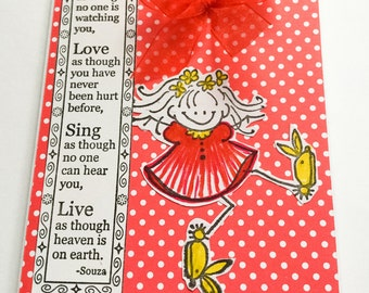 Handmade Girls birthday card - ballet teddy bear - beautiful dancer - dance - ballet shoes - bunny slippers - Love - sing - live - Wcards