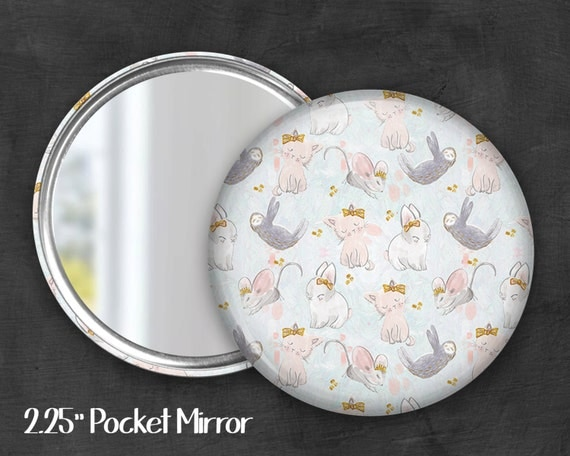 "2.25"" Animal Cuties Pocket Mirror, Geek Pocket Mirror, Geekery, Mirror Button, Kawaii Mirror, Pocket Mirror, Kawaii, Fairy Kei, Pastel Goth"