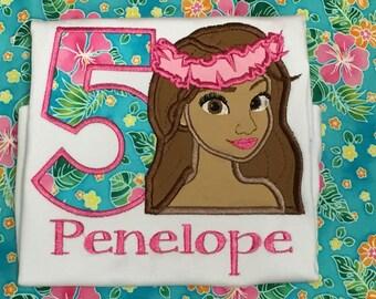 Ari's Angels Personalized Girls Hawaiian  princess Shirt Embroidered, Moana birthday Appliquéd, Monogrammed