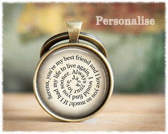 Personalized Keychain • Long Distance Friend • Best Friend Gift • Mens Anniversary Gift • Mens Keychain • Secret Message