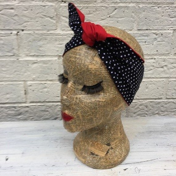 Black Polka dot headscarf Rockabilly pinup 1950's inspired