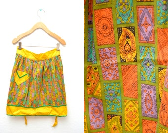 60s Yellow Patterned Apron Cooking Baking Pocket Half Tie Waist OSFM