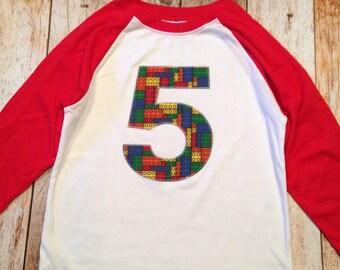5th Bricks birthday shirt any number Fabric Birthday Shirt Red and White Raglan sports jersey 5 6 7 8 9 year old birthday shirt building
