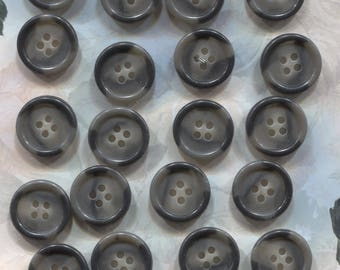 Set of 20 Old Black and Gray Plastic Buttons-(  3/4 inch)-Item# 446