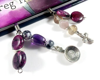 Purple Book Thong Book Bling, Beaded Bookmark, Suede Bookmark Book Lover Gift Book Mark, Dog Lover Gift Book Accessories, Bookmarker for Her