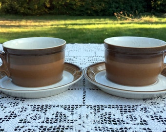 Mikasa Potters Art/ Mikasa Buckskin/2 Cups & Saucers/Eighties PF012/Tan w/Brown/Ben Seibel Design/Japan/Potters Art Cups/Buckskin Flat Cups