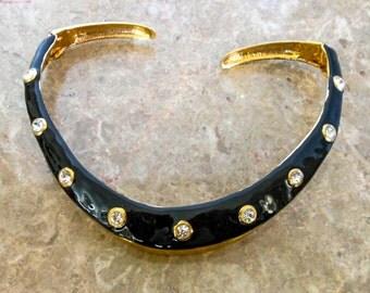 Enameled Collar Hinged Choker Gold & Black Enamel      Retro  White Diamond Rhinestone  Necklace