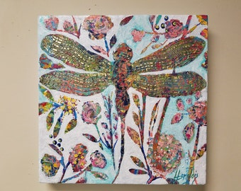 Dragonfly garden painting, Hidden Garden collection, textured dragonfly design with abstract colorful flowers, leaves and stems 16 x 16