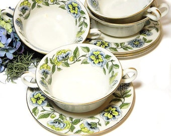 Four Sets of Double Handled Cream Soup Bowls and Underplates Green and Blue Floral