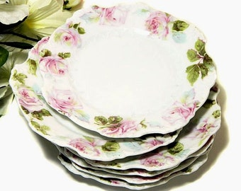 Six Antique Scalloped Rose Bread Dessert Plates Hermann Ohme Silesia