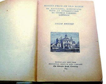 Antique Book Hawthorne Mosses From An Old Manse 1893