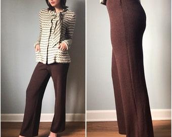 Vintage St. John High Waisted Chocolate Sweater Pants