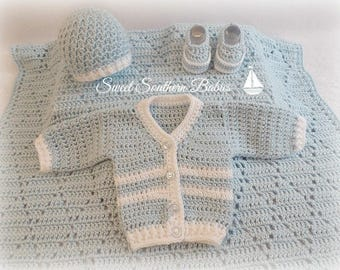 Baby Boy Christening Set - Baby Shower Gift Set - Sweater/blanket/Booties-Loafers/Beanie - Colors Optional