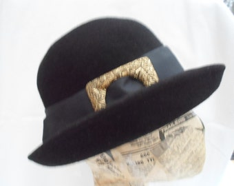 Black felt hat with upturned brim