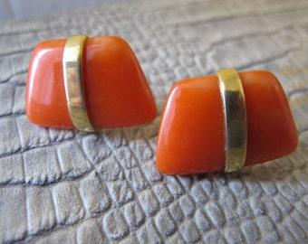 Trifari Coral-Orange-Tangerine Resin & Gold plate Clip Back Earrings. Maker Signed TRIFARI. Resort Warm Weather Accessory. 1970's MOD Chic