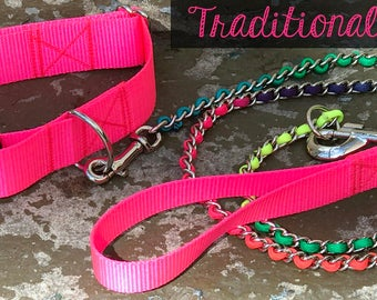 Colorful 4 foot Chain Leash  Slip Lead or Traditional Leash with rainbow paracord Attach to D Ring Collar or use as a slip lead.