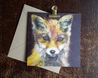 Needle felted fox cub card 14 x 14 cm