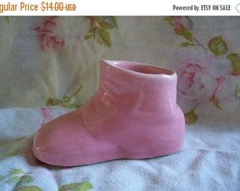 Vintage Pink Ceramic Baby Shoe Shower Gift