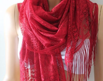 Christmas Gift Holiday Gift Scarf, Burgundy Lace Long Scarf Lightweight Women's Fashion Accessories Gift Ideas For Her