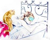 Audrey Hepburn Breakfast at Tiffanys Watercolor Art, Audrey Hepburn Wall Art Print, Fashion Art