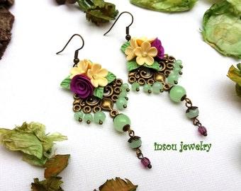 Floral Chandelier Earrings Flower Earrings Green Jewelry Boho Earrings Statement Earrings Dangle Earrings Handmade Earrings Flower Jewelry