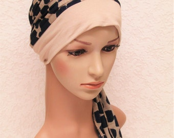 Bad hair day scarf, turban snood, women's turban, chemo head wear, hat for short hair, jersey turban with ties, chemo cap