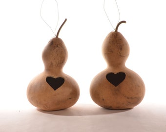 Two (2) Wide Bottle Gourd Birdhouses with Heart Entrance, natural gourd birdhouse, dried gourd birdhouse